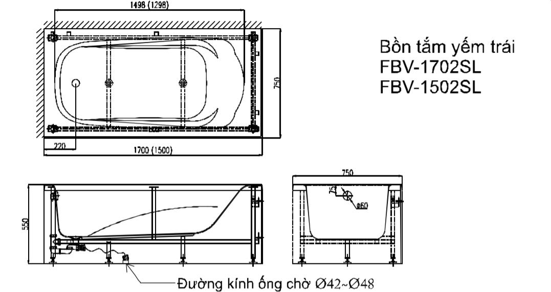 Bản vẽ kỹ thuật bồn tắm INAX FBV-1502SRL yếm trái