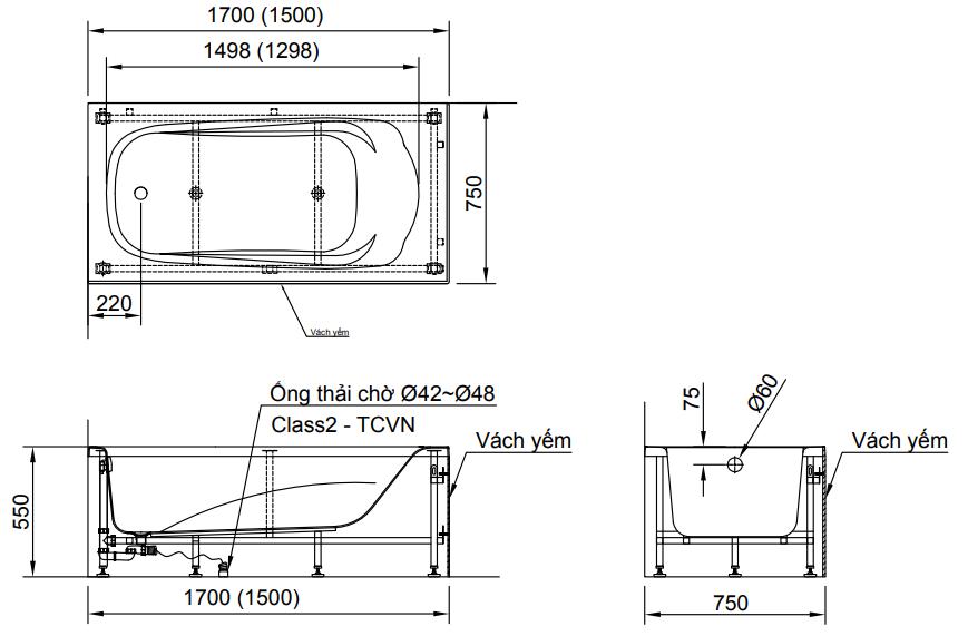 Bản vẽ kỹ thuật bồn tắm INAX FBV-1502SR yếm phải