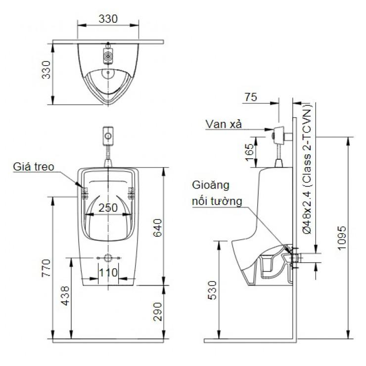 Bản vẽ kỹ thuật bồn tiểu nam Inax U-431VR
