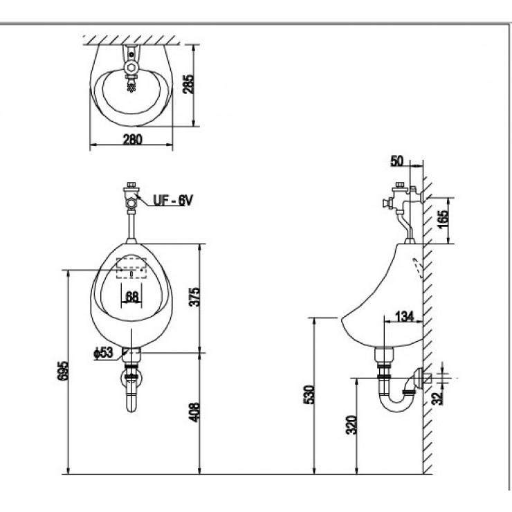 Bản vẽ kỹ thuật bồn tiểu nam Inax U-116V
