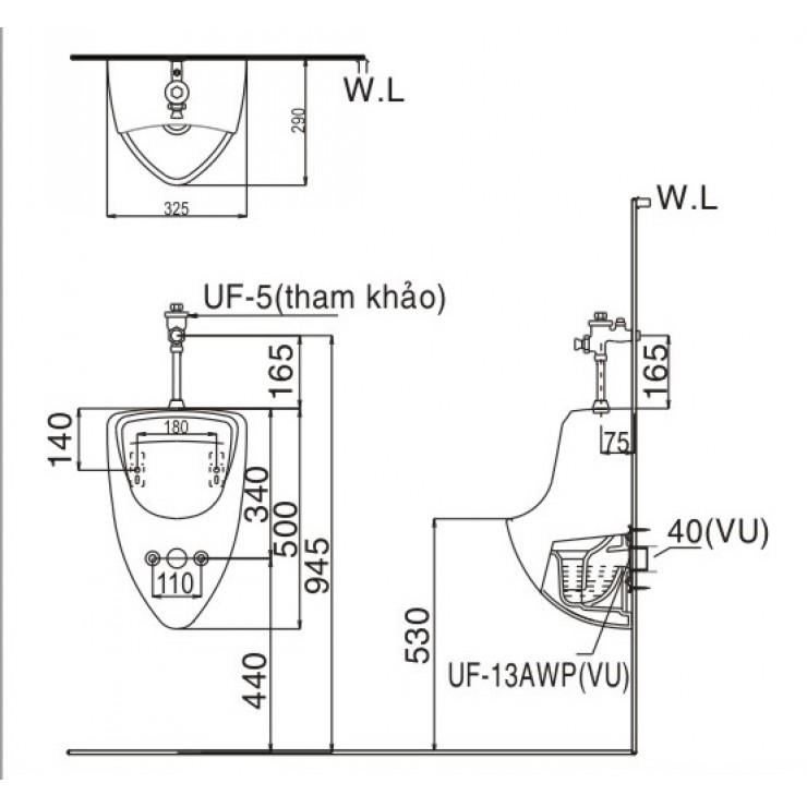 Bản vẽ kỹ thuật bồn tiểu nam Inax U-440V