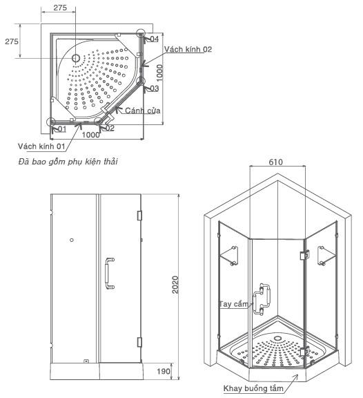 Bản vẽ kỹ thuật khay tắm đứng INAX SMBV-1000