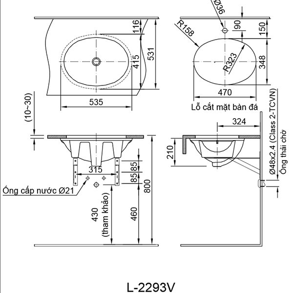 Bản vẽ kỹ thuật chậu rửa mặt đặt bàn INAX L-2293V