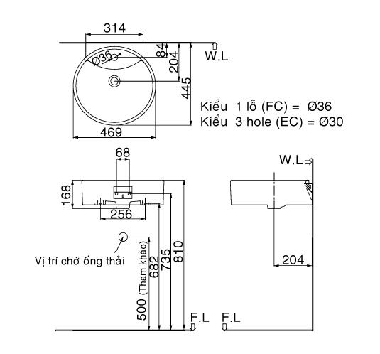 Bản vẽ kỹ thuật chậu lavabo đặt bàn INAX L-292V