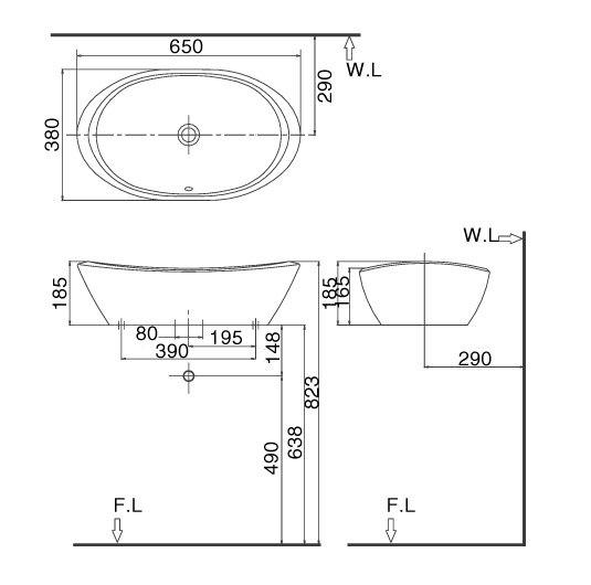 Bản vẽ kỹ thuật chậu rửa mặt đặt bàn INAX L-465V