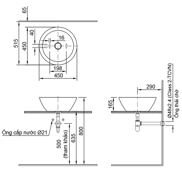 Bản vẽ kỹ thuật chậu rửa mặt đặt bàn INAX AL-445V