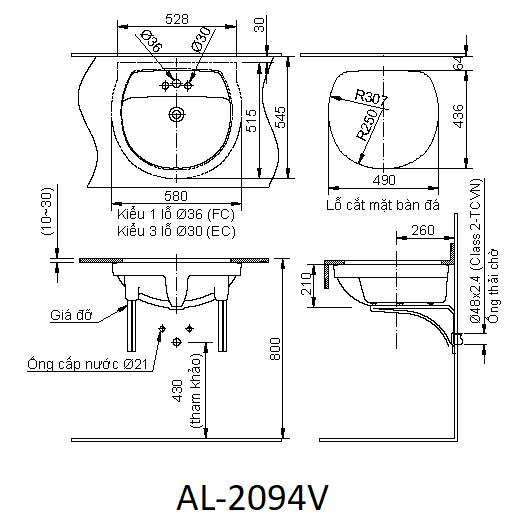 Bản vẽ kỹ thuật chậu rửa mặt đặt âm bàn INAX AL-2094V