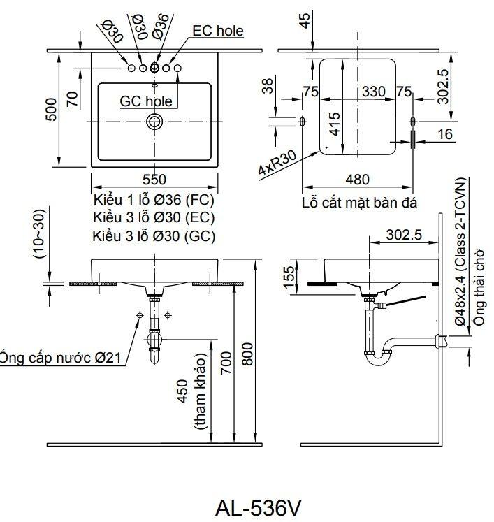 Bản vẽ kỹ thuật chậu rửa mặt đặt bàn Inax AL-536V
