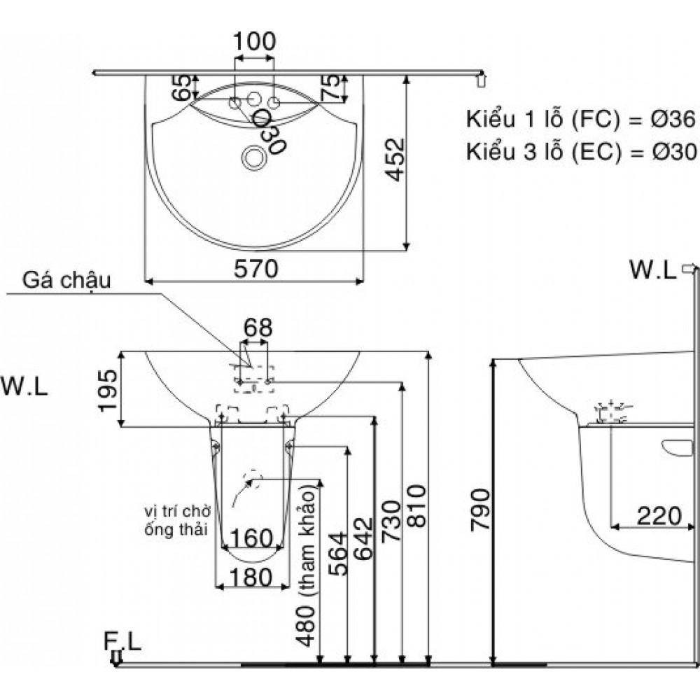 Bản vẽ kỹ thuật chậu lavabo treo tường INAX GL-288V