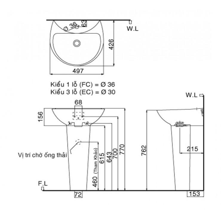 Bản vẽ kỹ thuật chậu lavabo treo tường INAX GL-285V/ L-288VD