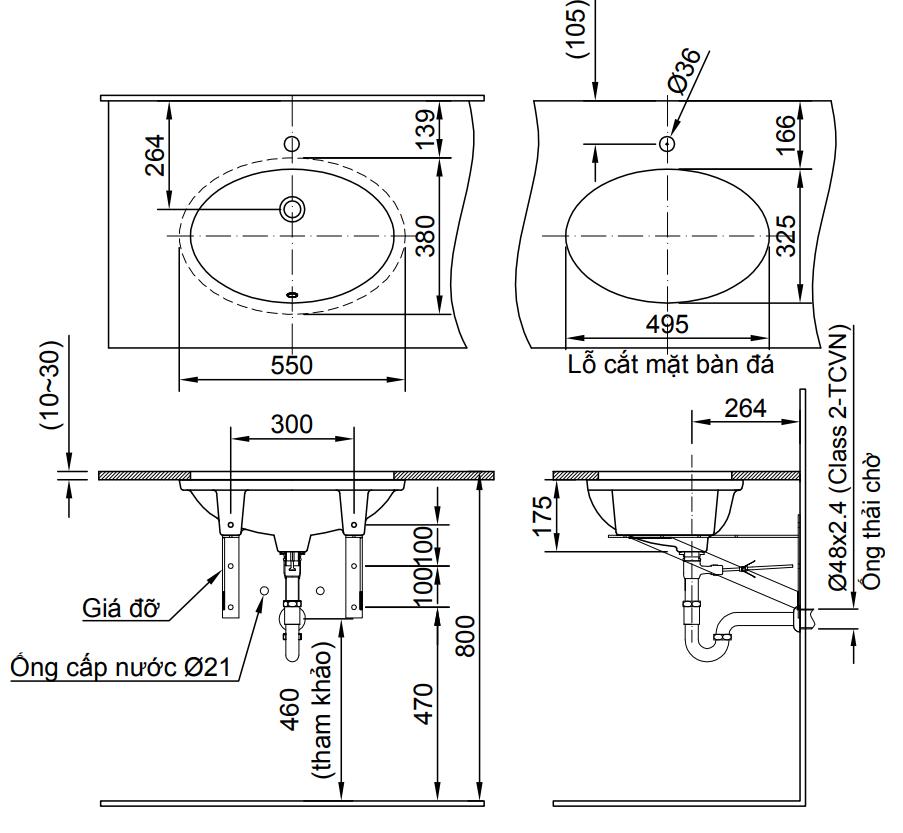 Bản vẽ kỹ thuật chậu rửa mặt đặt bàn INAX L-2216V