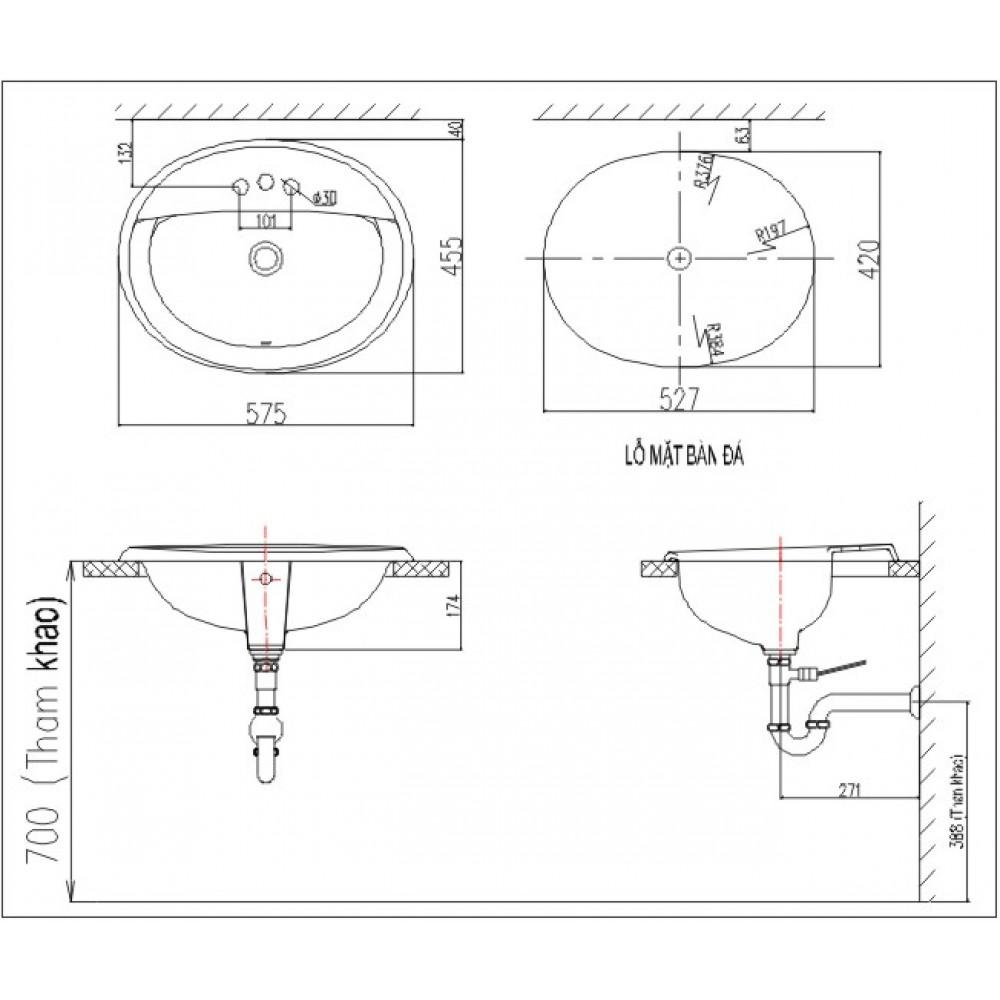 Bản vẽ kỹ thuật chậu lavabo dương vành INAX L-2395V