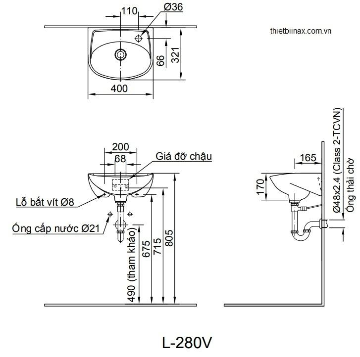 Bản vẽ kỹ thuật chậu lavabo treo tường INAX L-280V