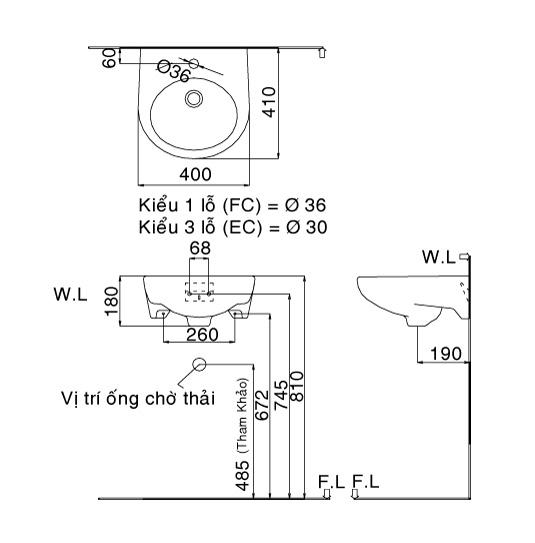 Bản vẽ kỹ thuật chậu lavabo treo tường INAX L-282V