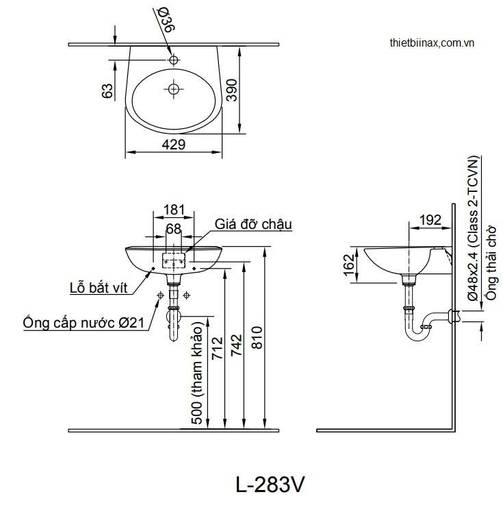 Bản vẽ kỹ thuật chậu lavabo treo tường INAX L-283V