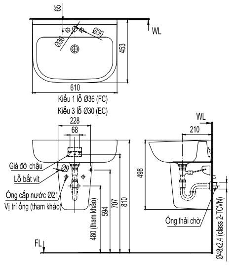 Bản vẽ kỹ thuật Chậu lavabo treo tường INAX L-298V/L-298VC