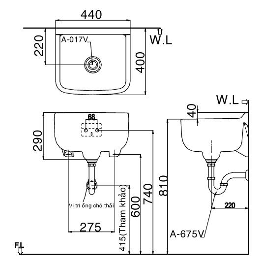 Bản vẽ kỹ thuật chậu rửa treo tường INAX S-17V