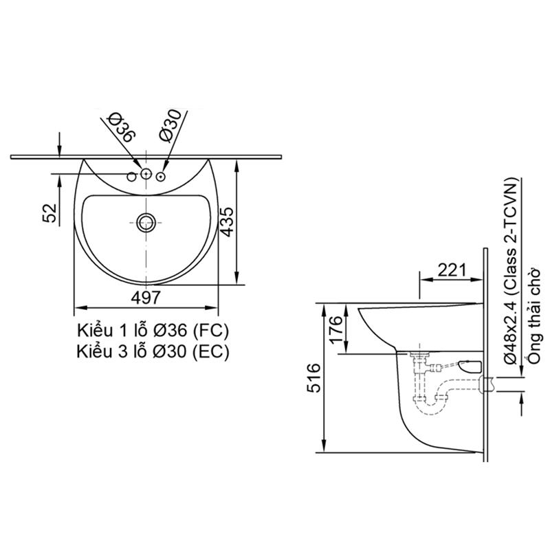 Bản vẽ kỹ thuật chậu lavabo treo tường INAX L-285V