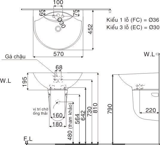 Bản vẽ kỹ thuật chậu lavabo treo tường INAX L-288V/L-288VC