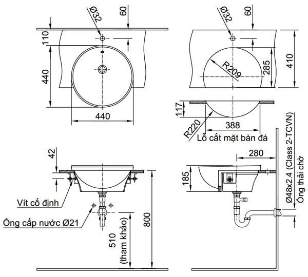 Bản vẽ kỹ thuật chậu rửa mặt bán âm bàn INAX L-333V