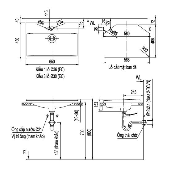 Bản vẽ kỹ thuật chậu rửa mặt đặt bàn Inax AL-2397V
