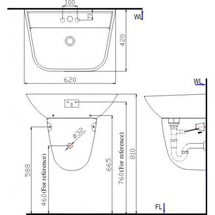 Bản vẽ kỹ thuật chậu lavabo treo tường INAX L-297V/L-297VC