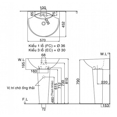Bản vẽ kỹ thuật chậu lavabo treo tường INAX GL-288V/L-288VD
