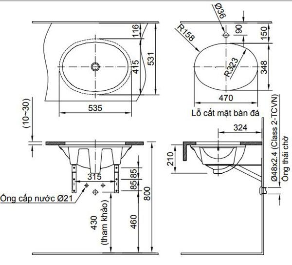 Bản vẽ kỹ thuật chậu rửa mặt đặt bàn INAX AL-2293V