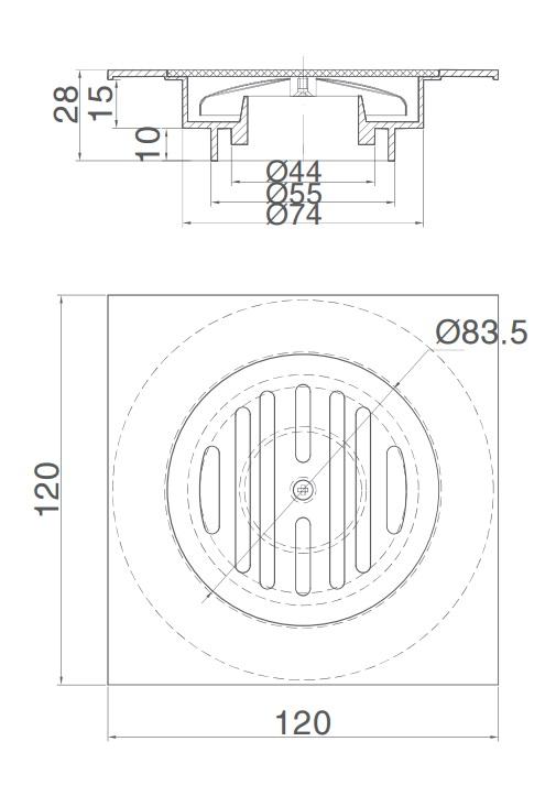 Bản vẽ kỹ thuật thanh ga thoát sàn INAX PBFV-120