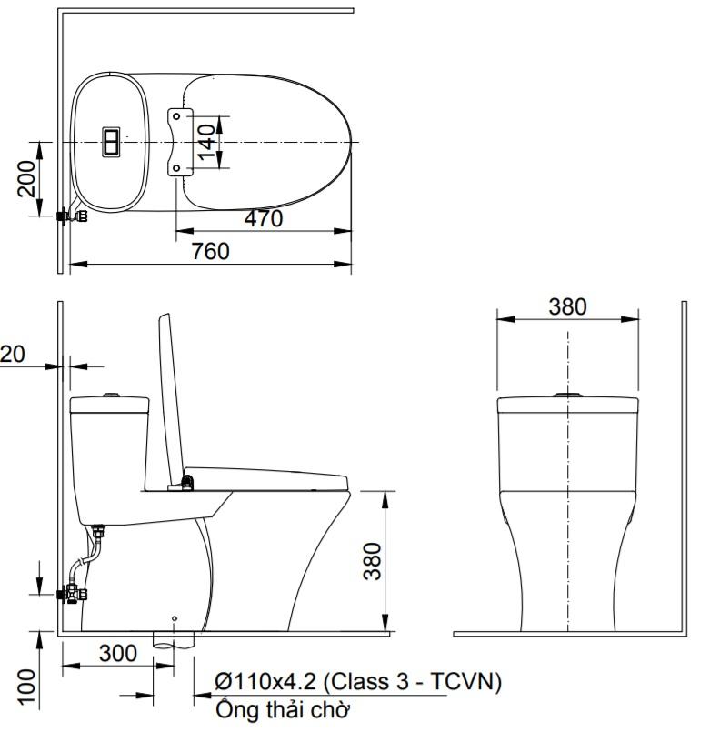 Bản vẽ kỹ thuật Bồn cầu 1 khối INAX AC-959A+CW-H17VN