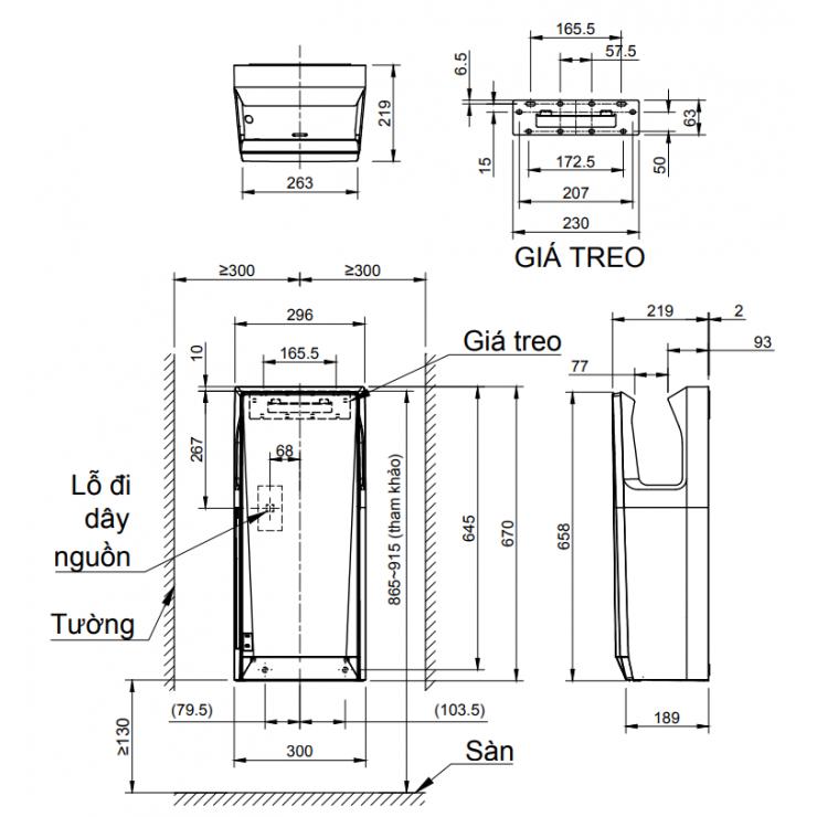 Bản vẽ kỹ thuật máy sấy tay Inax JT-SB216KSN-W-E