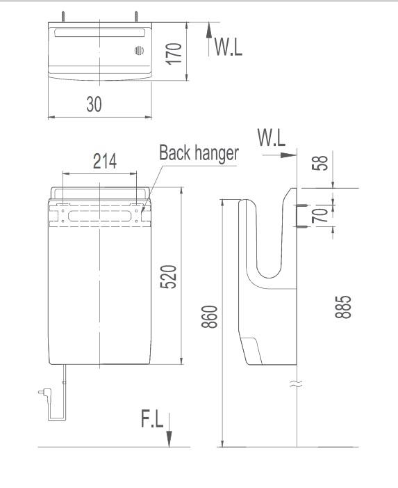 Bản vẽ kỹ thuật máy sấy tay INAX JT-1000