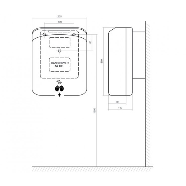 Bản vẽ kỹ thuật máy sấy tay INAX KS-370