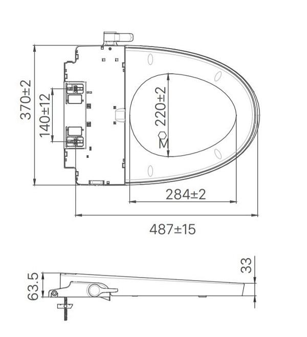 Bản vẽ kỹ thuật nắp rửa lạnh INAX CW-S32VN