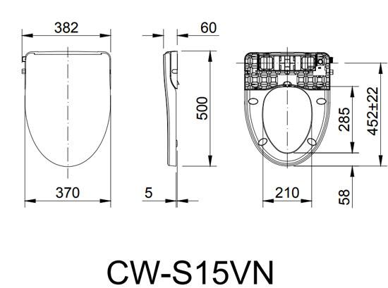 Bản vẽ kỹ thuật nắp rửa lạnh INAX CW-S15VN