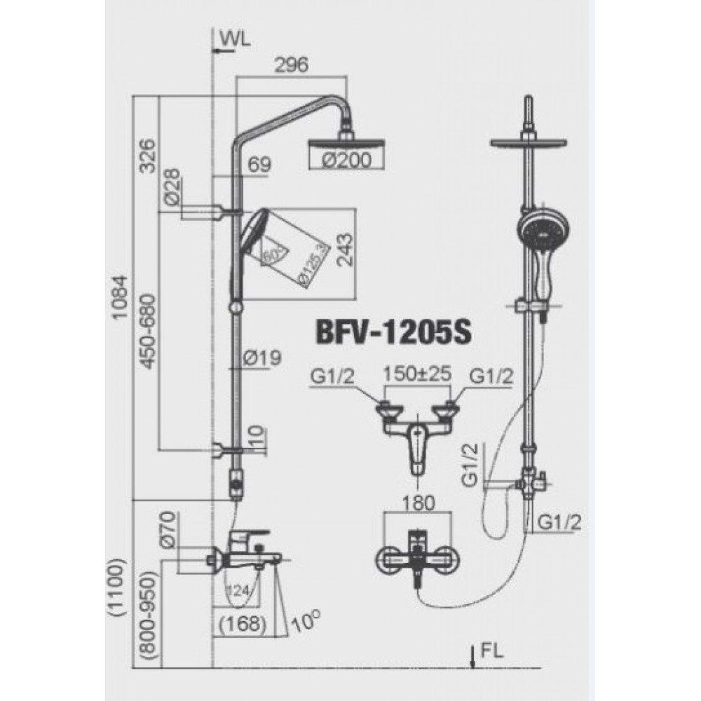 Bản vẽ kỹ thuật sen tắm INAX BFV-1205S