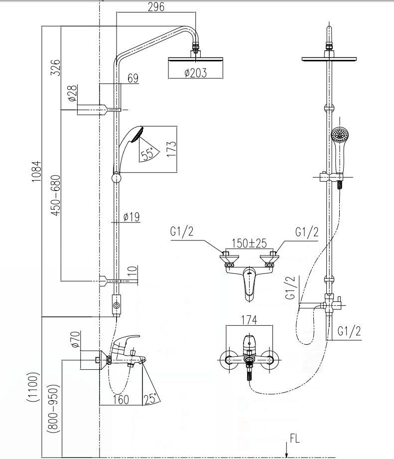 Bản vẽ kỹ thuật sen tắm INAX BFV-1305S