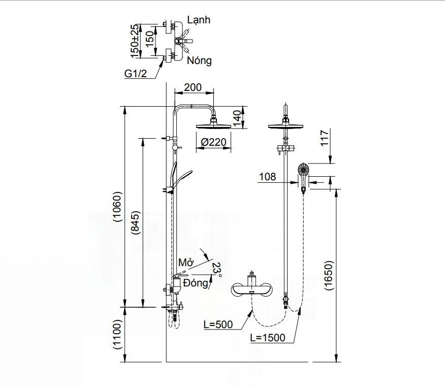 Bản vẽ kỹ thuật sen tắm INAX BFV-41S-5C