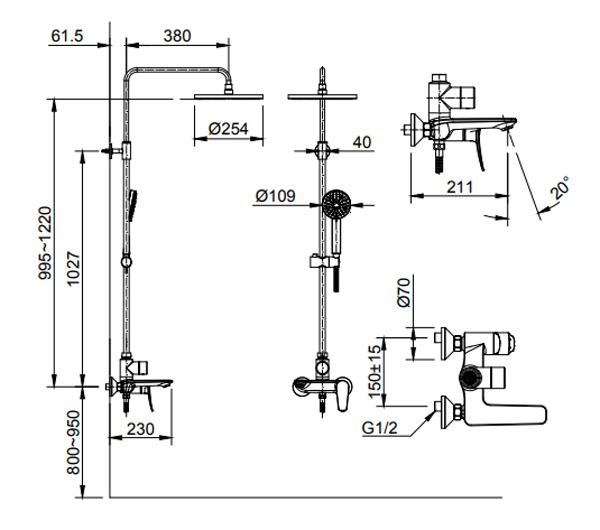Bản vẽ kỹ thuật sen tắm INAX BFV-515S