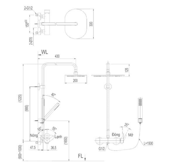 Bản vẽ kỹ thuật sen tắm INAX BFV-60S