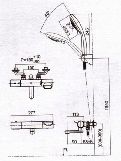 Bản vẽ kỹ thuật sen tắm INAX BFV-7145T-3C