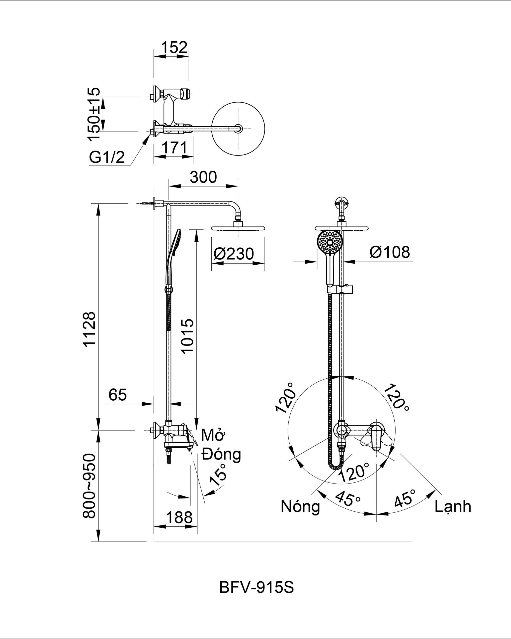 Bản vẽ kỹ thuật sen tắm INAX BFV-915S