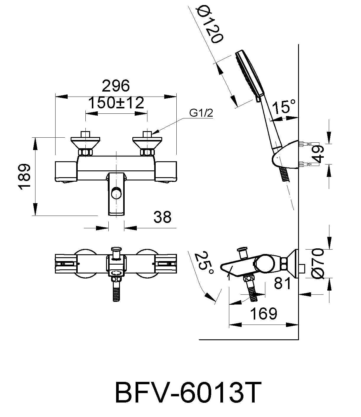 Bản vẽ kỹ thuật sen tắm INAX BFV-6013T