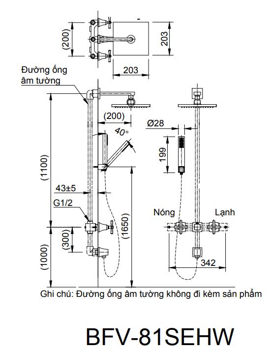 Bản vẽ kỹ thuật sen tắm âm tường INAX BFV-81SEHW