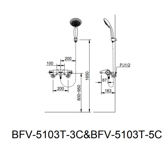 Bản vẽ kỹ thuật sen tắm INAX BFV-5103T-3C