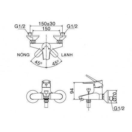 Bản vẽ kỹ thuật sen tắm INAX BFV-1003S-1C
