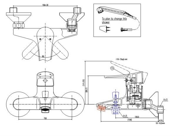 Bản vẽ kỹ thuật sen tắm INAX BFV-1003S