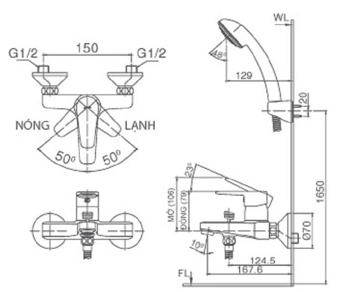 Bản vẽ kỹ thuật sen tắm INAX BFV-1203S-4C