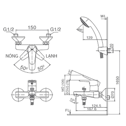 Bản vẽ kỹ thuật sen tắm INAX BFV-1303S-4C