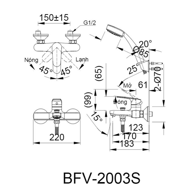 Bản vẽ kỹ thuật sen tắm INAX BFV-2003S